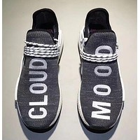 Adidas Human Race nmd Fashion Casual Embroider Letter Running Sports Shoes Grey