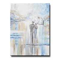 GICLEE PRINT Art Abstract Painting Couple w/ Umbrella Romantic Walk White Blue Grey X LARGE Canvas Wall Art