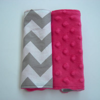 Chevron & Fuschia Minky Reversible Car Seat Strap Covers