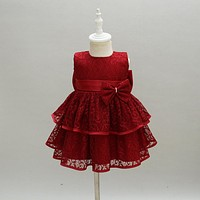 Baby Girls Princess Dress Formal Lace Christening Gown Dresses With Bow for born Birthday Party Baptism