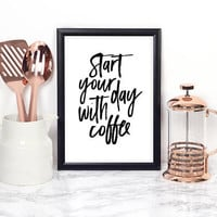 BUT FIRST COFFEE Quote, Start Your Day With Coffee,Calligraphy Quote,Coffee Sign,Funny Kitchen Decor,Kitchen Wall Art,Coffee Bar Decor,Quote