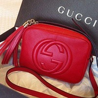 Gucci Trending Women Pure Color Tassel Letter Leather Shoulder Bag Crossbody Satchel Red I
