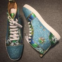 Christian Louboutin CL Rhinestone Style #1949 Sneakers Fashion Shoes Best Deal Online