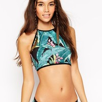 ASOS Spanish Palm Floral Halter Crop Bikini Top