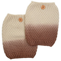Women's Two Tone Beige / Brown Ombre Button Boot Cuffs - Popcorn Pattern Knit Boot Sock Topper, gift, 2 Color Boot Cuffs