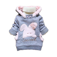 New 2017 Winter Children Clothing Baby Girl Rabbit Fleece Outerwear Girl Faux Wool Fur Hoodie Clothes pullover Winter Coat