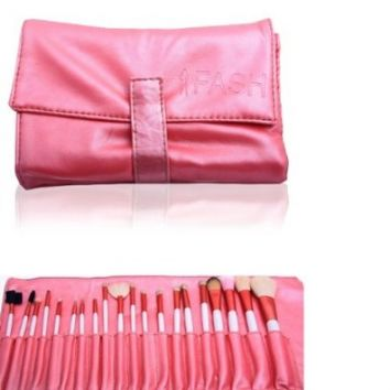 FASH Professional goat hair and nylon makeup Brush Set with Faux Leather Pouch, 20-Piece For Eye Shadow, Blush, Eyeliner......