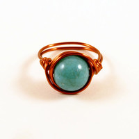 Turquoise Wire Wrapped Ring Size 6 Copper Wire Wrap Ring