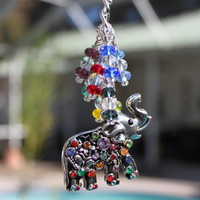 Colorful Elephant Car Charm, Rearview Mirror Charm