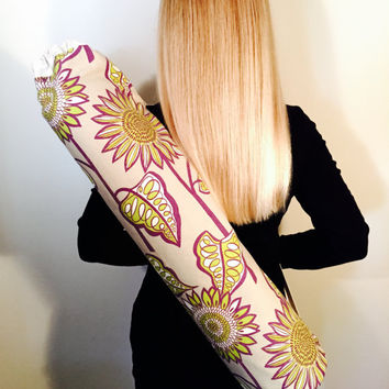 Handmade Yoga Bag, Yoga Mat Tote, Carrier - READY TO SHIP! Taupe, Green and Purple Print, Fully Lined with Ecru Canvas