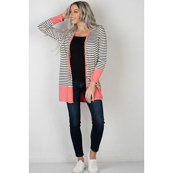 Coral Detailed Ivory and Black Cardigan (S-XL)
