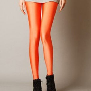 Sexy Solid Candy Neon Rose Leggings