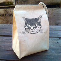 Eco Tabby Cat Lunch Bag with kitty design, Recycled Cotton Canvas Snack sack with rope handle, velcro, and sparkley shimmer ink