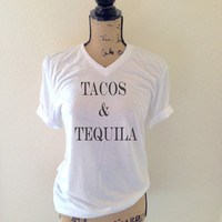 Tacos and Tequila Tank Top Shirt in White for Women