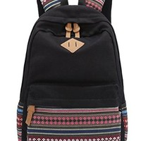 Leaper Causal Style Canvas Laptop Bag/ Shoulder Bag/ School Backpack/ Travel Bag/ Handbag Pu Black