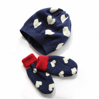 Toddler Baby's Cute Hearts Knitted Cotton Beanie Hat and Mitten Set