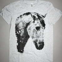 horse t shirt, black horse, crying horse, womens horse clothing, womens horse tee,1AEON heather gray tee with black horse - women's S-XL