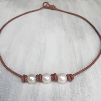 Knotted leather pearl necklace; leather and pearls; pearl necklace; freshwater pearl jewelry;gift for her;christmas gifts