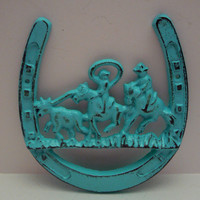 Horse Shoe Cowboy Country Western Scene Horses Roundup Wall Decor Cast Iron Aqua Turquoise Lucky Luck Horseshoe Distressed Country