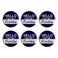 Finley Hello My Name Is Plastic Resin Button Set of 6