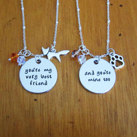 Hound Dog and Fox friendship necklaces. You're my very best friend. And you're mine too. Best friend necklace. Friendship necklaces.