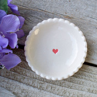 Tiny Biscuit Ring Dish with Heart - Ring Dish - Tiny Bowl - Ring Holder - Earring Dish - Scalloped Edges -  Promotional Item - Ready to Ship