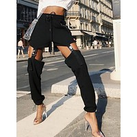 buckle strapped active trousers