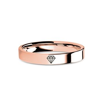 Diamond Icon Engraving Rose Gold Tungsten Carbide Wedding Band
