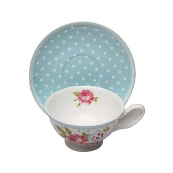 Alice's Garden Bone China Tea Cup and Saucer Set of 4