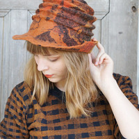Unique spiral-shaped felted hat with brim , shades of brown, with pieces decorative silk fabric and silk fibers, OOAK