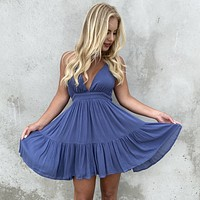Kiss The Day Halter Summer Dress in Dusty Blue