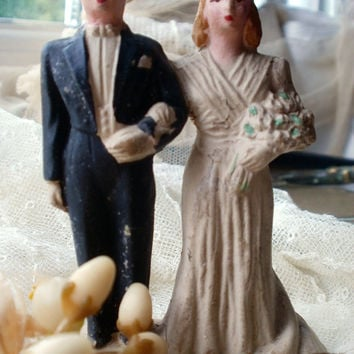 Vintage Wedding Cake Topper and Antique Wax Flowers French Something Old 1930s symbolising everlasting love