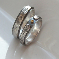 Rustic Wedding Band - Sterling Silver Matching Rings with Gold Ball for Her