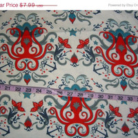 Nautical Flannel fabric with octopus and anchor quilt cotton quilting sewing material by the yard 1yd crafts clothes home decor