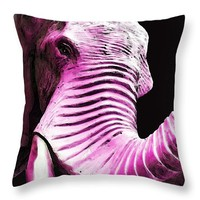 "Tusk 2 - Pink Elephant Art Throw Pillow 14"" x 14"""