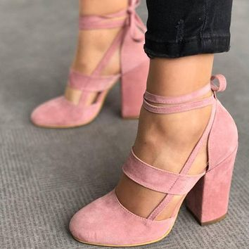 Women Bandage Suede Rough Heel Sandals Shallow Mouth Hollow Heels Shoes
