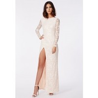 Missguided - Aaliah Lace Side Split Maxi Dress Nude