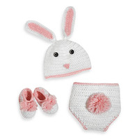 So'dorable Size 0-6 Months Crocheted Bunny Set in White