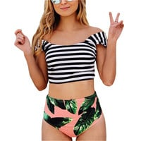 Striped Printed Swimwear  High Waist Swimsuit Bikini Sets