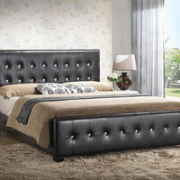 Black Modern Tufted Design Leather Upholstered Bed