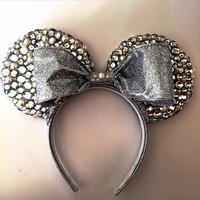 Pearls & Silver Bedazzled Minnie Mouse Ears