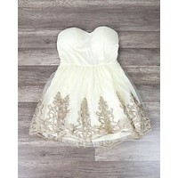 Final Sale - Vintage Inspired Golden Party Dress