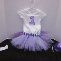 Baby Girls 1st Birthday Tutu 1st Birthday Onsie Party Set Picture Props 1st Birthday Purple 1st Birthday Outfit By Sweetpeas Bows & More