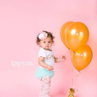 Baby Girl Baby Girl 1st Birthday Outfit Photography Props Gold One Onesuit Mint Bloomers Pink Gold Cake Smash Outfit