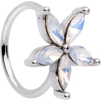 "20 Gauge 5/16"" Clear Faux Opal Starflower Seamless Circular Ring"
