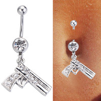 Steel Clear Crystal Gun Belly Ring