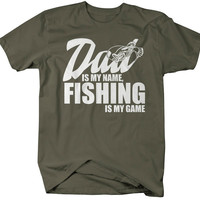Men's Funny Fishing T-Shirt Dad Is My Name Fishing Is My Game Shirt Gift Idea Dads Father's Day