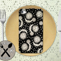 Sun And Moon Black Pattern Vintage Retro Cute Stars Custom Rubber Tough Phone Case For The iPhone 4 and 4s and iPhone 5 and 5s and 5c