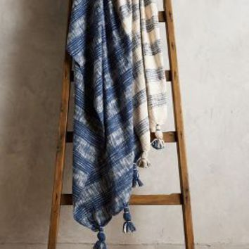 Plaid Wetherill Throw by Anthropologie in Navy Size: One Size Throws