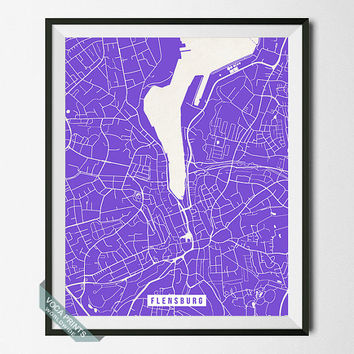 Flensburg Print, Germany Poster, Flensburg Street Map, Germany Map Print, Southern Schleswig, Modern Decor, Street Map, Back To School